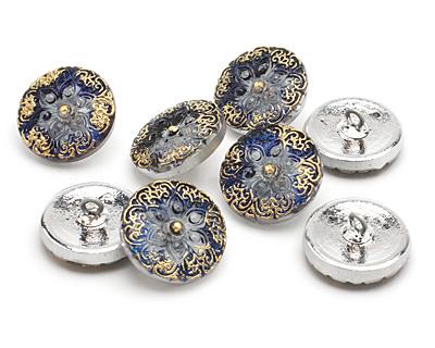 Czech Glass Cobalt w/ Gold Starflower Button 18mm