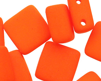 Czech Glass Bright Neon Orange 2-Hole Tile 6mm