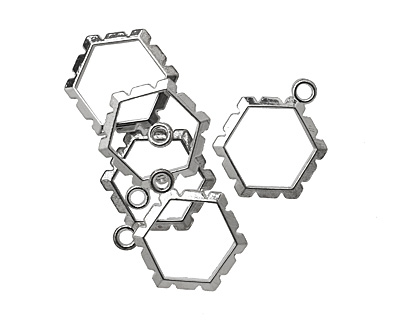 Artistic Wire Silver (plated) Hexagon Wrapper 18x24mm