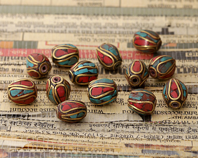 Tibetan Brass Rice Bead w/ Turquoise & Coral Mosaic Plumes 11x9-10mm