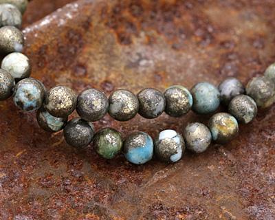 Golden Pyrite w/ Blue Quartz Round 6mm