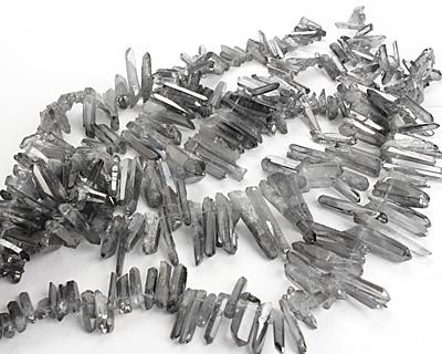 Metallic Coated Quartz Faceted Stick Drop 4-11x18-46mm