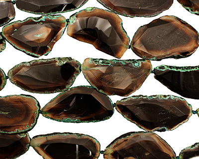 Moss Green Agate Natural Edge Freeform Faceted Slab 44-66x35-39mm