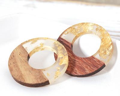 Walnut Wood & Clear w/ Gold Foil Resin Off-Center Hoop Focal 28mm