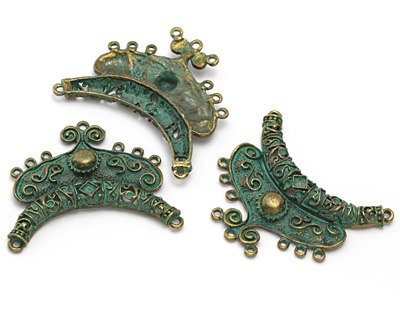 Patina Green Brass (plated) Scrolling Focal Link 64x56mm