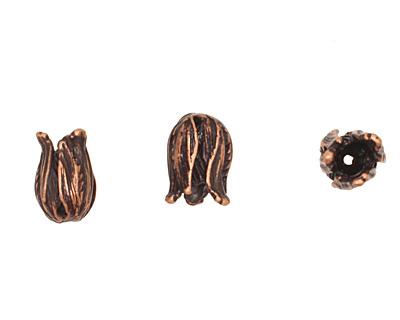 Ezel Findings Antique Copper Small Tulip Bead Cap 13x9mm