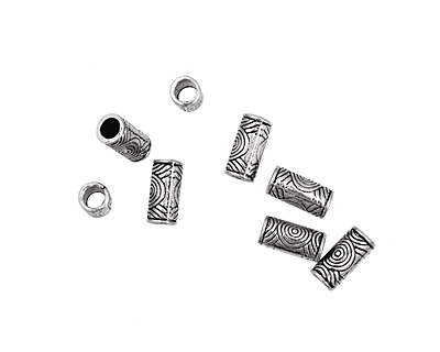 Pewter Spiral Tube (Large Hole) 13x6mm