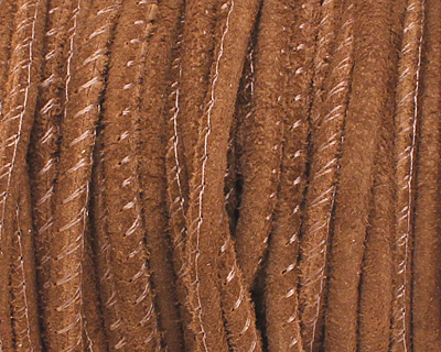 Medium Brown Stitched Suede Round Leather Cord 2.5mm