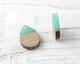 Wood & Sea Green Resin Teardrop Focal 11x17mm