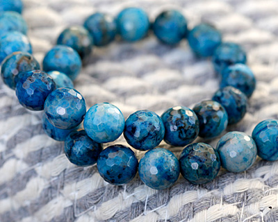 Larimar Blue Crazy Lace Agate Faceted Round 10mm