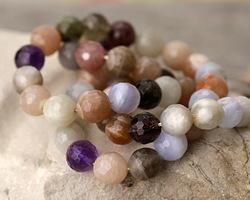 Multi Stone (Moonstone, Chalcedony, Amethyst, Strawberry Quartz) Faceted Round 8mm