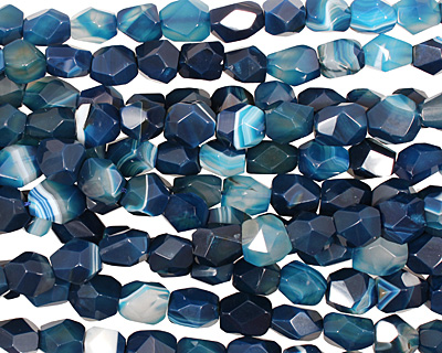 Cobalt Agate Faceted Nugget 11-14x11-16mm