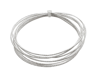 German Style Wire Silver (plated) Check Pattern Round 18 gauge, 1.5 meters