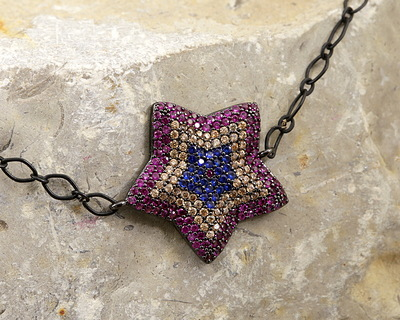 Mirage Mix Pave CZ Gunmetal (plated) Star Focal Link 23x22mm