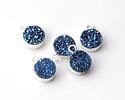 Metallic Blue Cosmos Druzy Small Coin Pendant w/ Silver Finish 8x11mm
