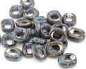 Black & Blue w/ Speckles Porcelain Rounded Square Focal 16x19mm