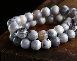 White & Blue Agate Round 8mm