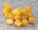 African Recycled Glass Clear w/ Orange Flecks Tumbled Round 13-15mm