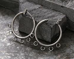 Antique Silver (plated) Hoop Earring w/ 5 Loops 28mm