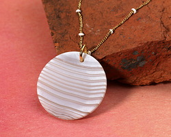 Gray & White Banded Agate (matte) Thin Coin Pendant 30mm