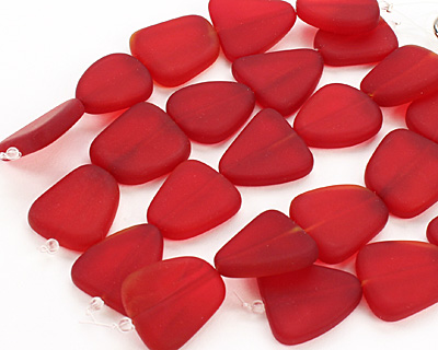 Cherry Red Recycled Glass Flat Freeform 21-23x18-20mm