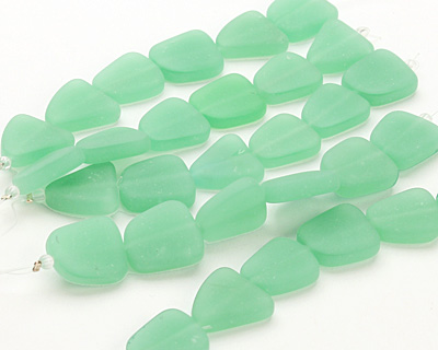Opaque Seafoam Green Recycled Glass Flat Freeform 15x13-15mm