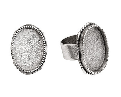 Nunn Design Antique Silver (plated) Large Ornate Oval Bezel Adjustable Ring 24x30mm