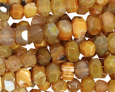 Yellow Line Agate Faceted Nugget 9-13x16-18mm