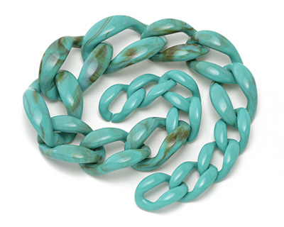 "Marbled Turquoise Acrylic 22"" Graduated Curb Chain 37x25-64x43mm"