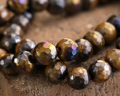 Tiger Eye w/ AB Luster Faceted Round 8mm