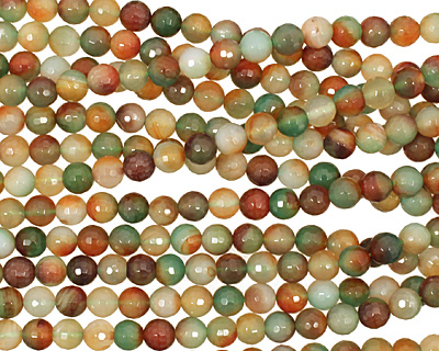 Green/Caramel Agate Faceted Round 8mm