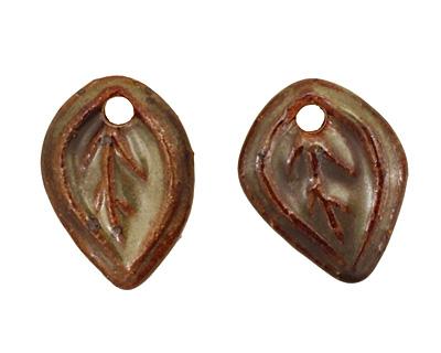 Kylie Parry Ceramic Rust & Sage Tiny Autumn Leaf Charm 15x21mm