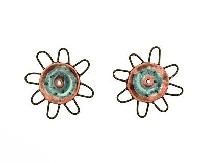 Jangles Ceramic Red, Turquoise Pinwheel 43-49mm