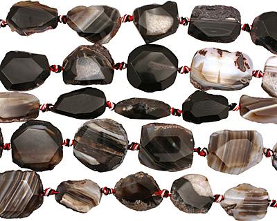 Black Agate Natural Edge Freeform Faceted Slab 29-37x18-30mm