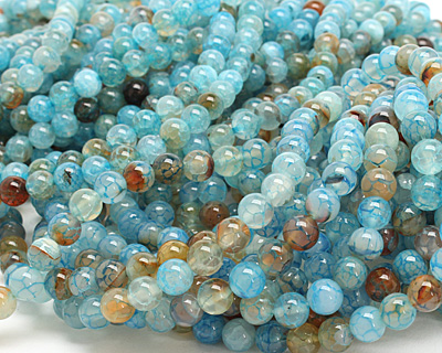 Blue Haze Fire Agate Round 8mm