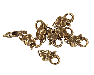 Antique Brass (plated) Floral Lobster Clasp 25x14mm