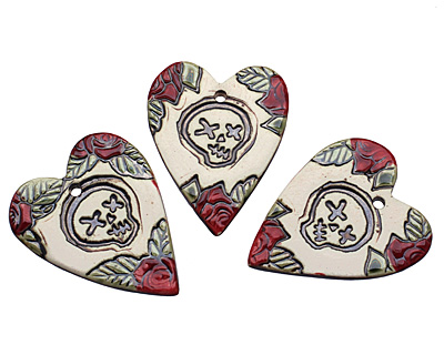 Earthenwood Studio Ceramic Rose and Skull Pendant 41x52mm