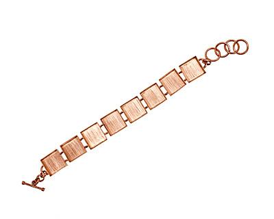 Copper Square Bezel Link Bracelet 17mm