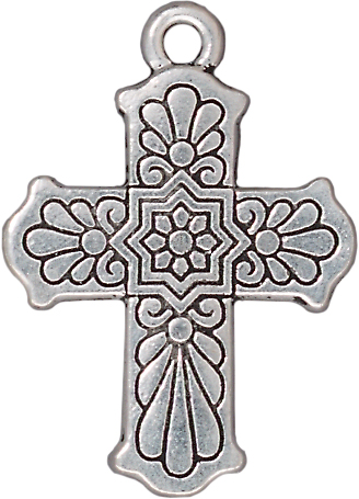 TierraCast Antique Silver (plated) Talavera Cross 22x30mm