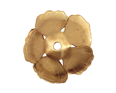 Brass 5 Petal Flower Bead Cap 9x23mm