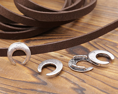 Zola Elements Antique Silver (plated) Crescent 7mm Flat Cord Slide 17x18mm