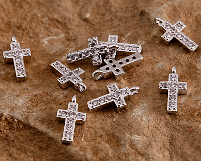 Clear Pave CZ Rhodium (plated) Cross Charm 5x10mm