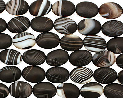 Black Sardonyx (matte) Flat Oval 18x13mm