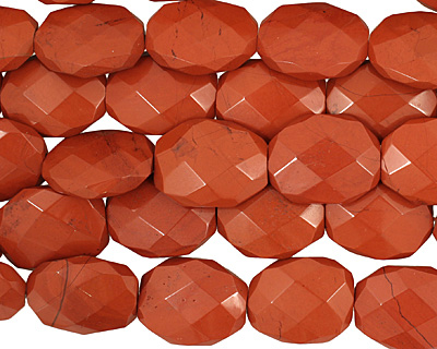 Red Jasper Faceted Irregular Flat Oval 28-29x20-22mm