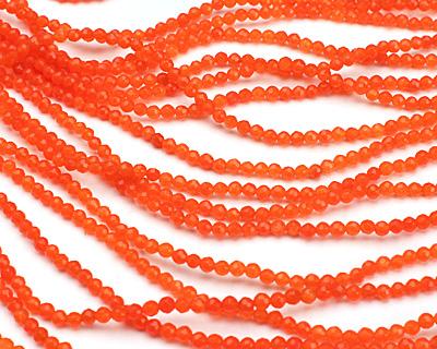 Neon Orange Colorful Jade Faceted Round 3mm