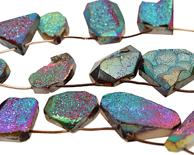 Druzy (metallic rainbow) Faceted Freeform Drop 14-37x24-37mm