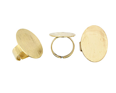 Brass Adjustable Oval Ring 31x23mm