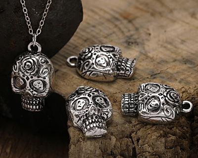 Zola Elements Antique Silver Finish Dia de los Muertos Sugar Skull Pendant 15x25mm