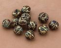 Tibetan Brass Bead w/ Turquoise, Coral & Lapis Mosaic 12mm