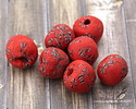 African Recycled Powder Glass & Seed Bead Red Mix Tumbled Round 14-18mm